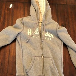 Heavy fuzzy lined Hollister zip up hoodie